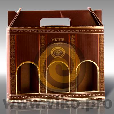 Подарочная упаковка под три фляжки коньяка МКШВ 270х40х260мм