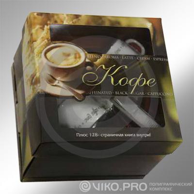 Подарочный набор кофе с двумя чашками 200х200х90мм