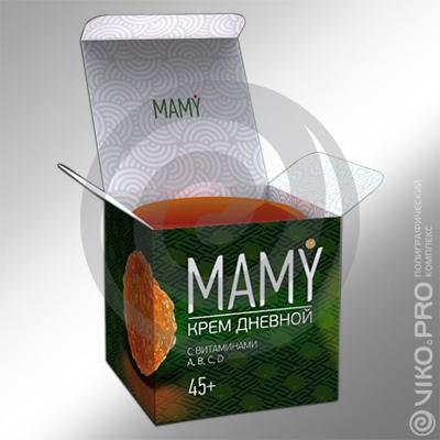 """Картонная упаковка для крема """"MAMY"""" 70х60х70 мм"""