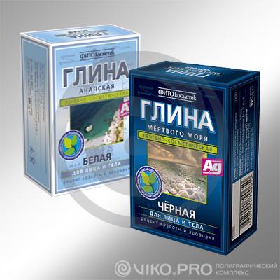 Картонная упаковка для косметической глины ФИТОкосметик 70х100х40 мм