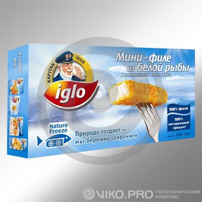 Картонная упаковка для продуктов заморозки Iglo 250х100х60 мм
