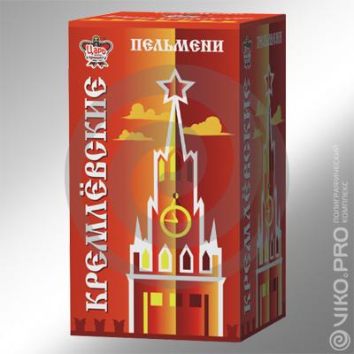 """Пищевая упаковка / Для пельменей / Картонная упаковка для пельменей """"Кремлевские"""" 120х200х60 мм"""