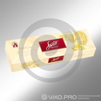 Картонная упаковка для печенья Swiss Delice 250х60х40 мм