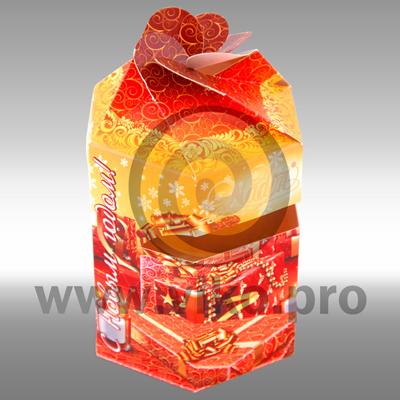 Картонная упаковка для новогоднего набора конфет 90х90х160 мм