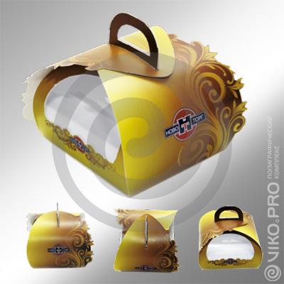 Картонная упаковка для торта НовоТорг 140х140х140 мм