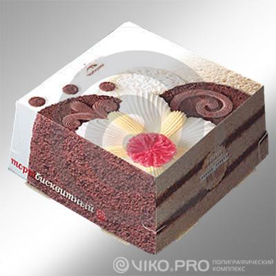 Картонная упаковка для торта Черёмушки 240х240х240 мм
