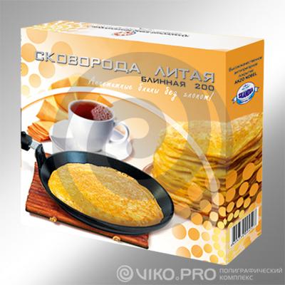 Картонная упаковка для сковороды со съемной ручкой 250х250х60 мм
