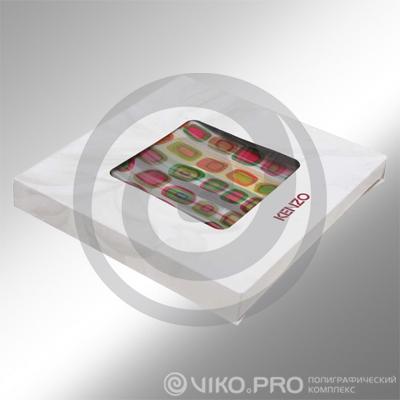 Картонная упаковка для дизайнерского платка 120х120х20мм