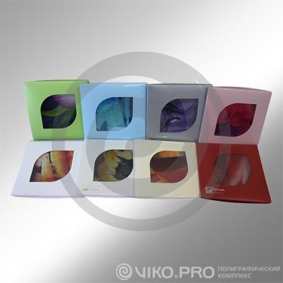 Картонная упаковка для платков с вклеенным окном 95х95мм