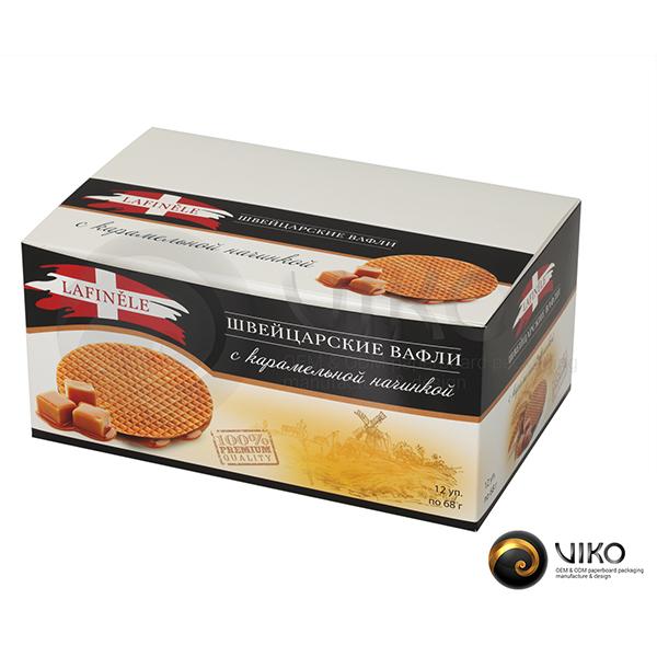 """Картонная упаковка для печенья """"Швейцарские вафли"""" 205*125*95 мм"""