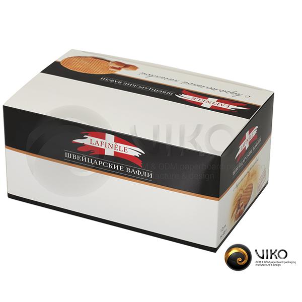 "Картонная упаковка для печенья / Для печенья / Картонная упаковка для печенья ""Швейцарские вафли"" 205*125*95 мм"