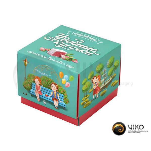 """Картонная упаковка для конфет """"Удобные кусочки"""" 115*115*70 мм"""
