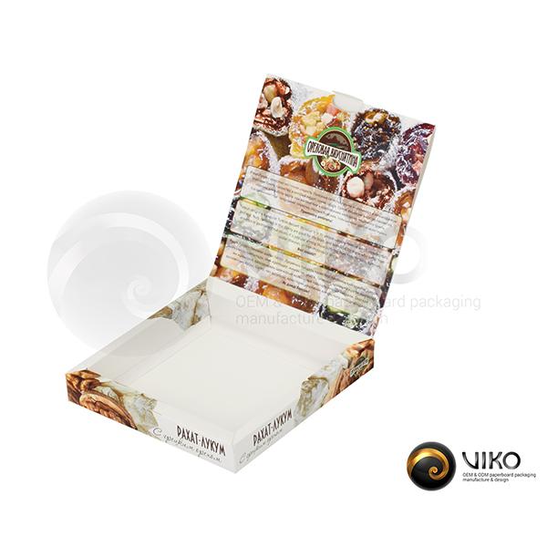 """Картонная упаковка для конфет / Для конфет / Картонная упаковка для конфет """"Рахат лукум"""" 150*155*25 мм"""