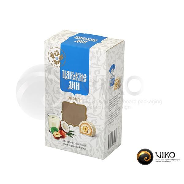 """Картонная упаковка для конфет """"Царские дни"""" 150*90*55 мм"""