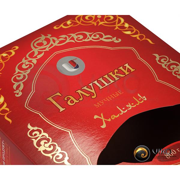 """Пищевая упаковка / Для пельменей / Картонная упаковка для пельменей """"Галушки халяль"""" 160х210х65 мм"""