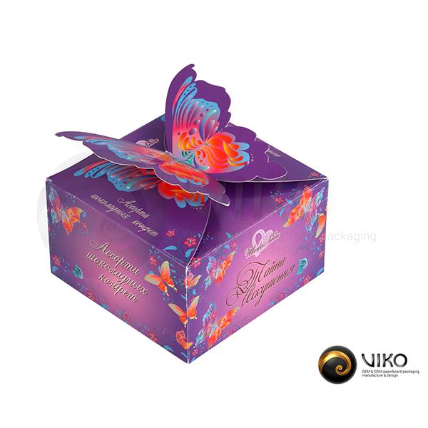 """Картонная упаковка для конфет """"ШокоЛеди"""" 100*100*60 мм"""